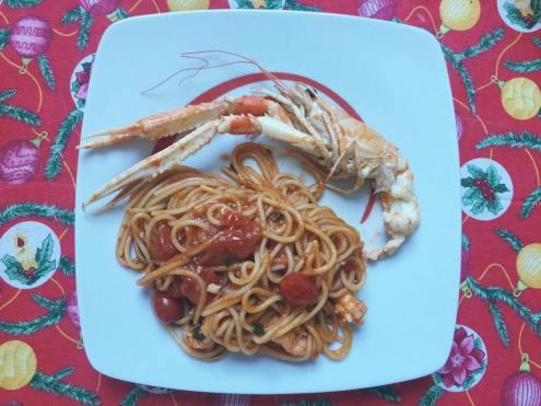 Spaghetti scampi e brandy