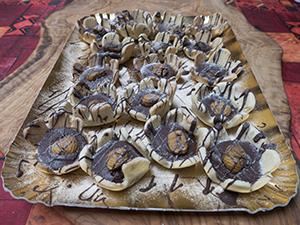 Cestini di frolla con cioccolato e castagne