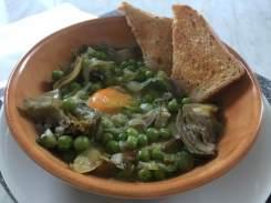 Zuppa di piselli e carciofi