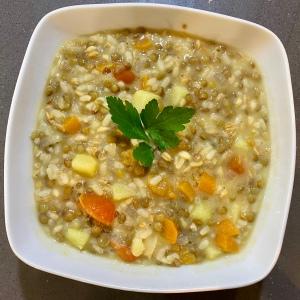 Zuppa ai 3 cereali, lenticchie e patate