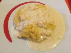 Polenta morbida con fonduta di parmigiano