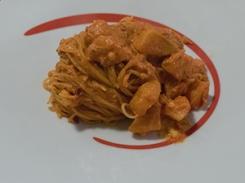 Spaghetti con patate e pesto di 'nduja